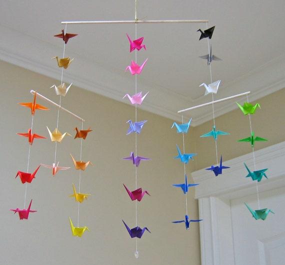 Origami Crane Mobile Colour Wheel Contemporary Mobile