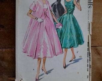 vintage 50's dress and coat pattern mccalls 3858