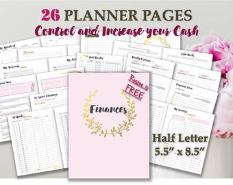Half letter planner printables inserts half size budget printable calendars budget and bill pay kit _ Half Letter Size _ Any Re-size is FREE