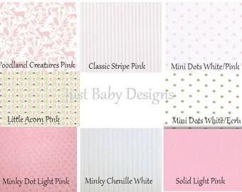 Custom Baby Crib Bedding - Girl Baby Bedding, Deer Crib Bedding, Pink Crib Bedding, Woodland Nursery