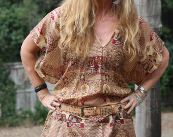 Silk Tunic  - one of a kind, perfect beach cover. Autumn/fall colours  maroon and cream with batik print. One Size 10-14