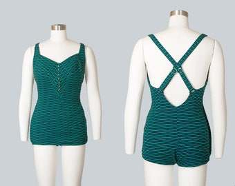 Vintage 1950s Swimsuit   50s COLE OF CALIFORNIA Striped Knit One Piece Green Bathing Suit (small/medium)