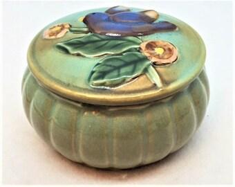 Glazed Pottery Blue Bird Trinket Box
