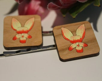Donkey Orchid Flower Bobby Pins-Flower Hair Pins-Flower Bobby Pins-Handpainted-Wildflower Hair Pin-Australian Wildflower