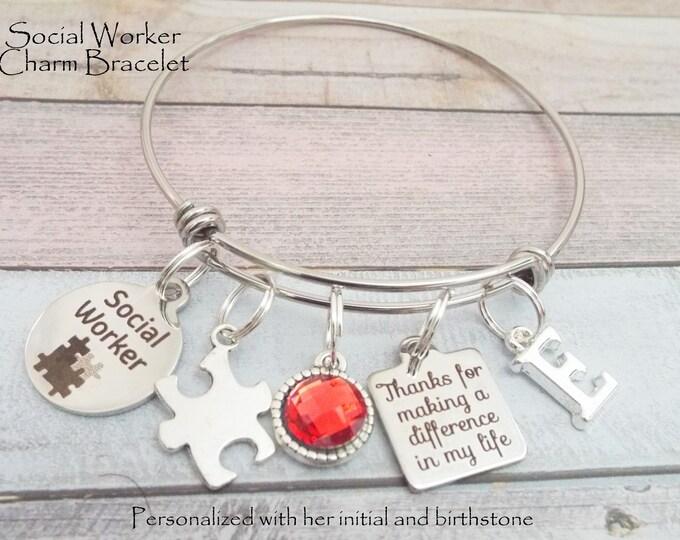 Gift for Social Worker, Social Worker Gift, Personalized Gift for LSW, Birthday Gift for Social Workers, Gift for Her, Custom Jewelry Women