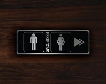 MODERN RESTROOM DOOR Sign, Restroom Door Directional Sign, Restroom Pointer Sign, Restroom Directional Sign, Restroom door plaque, Restrooms