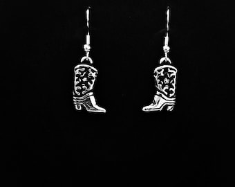 Silver Cowboy Boots Earrings (Surgical Steel Hooks)