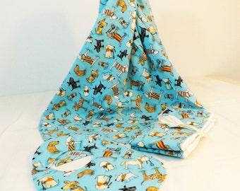 Layette Set Flannel Blanket, bib and burp cloths set  blue dogs print