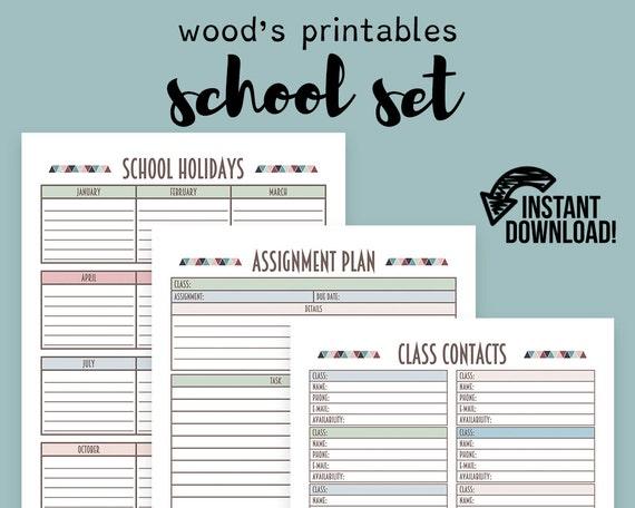 School Planner PDF Printable Binder Printables Grade Book