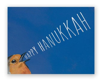 Yelling Set of 12 Happy Hanukkah Cards - Bird - Stationery - Gift - Mincing Mockingbird