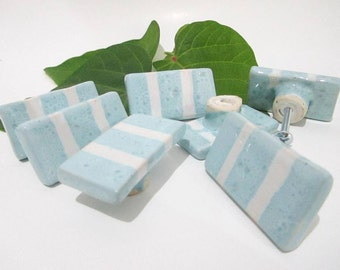 Ceramic Knobs, Drawer Knobs, Cabinet Door Pulls, Light Blue with White Stripe