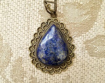 Sodalite pendant, teardrop pendant, ethnic pendant, tribal pendant, gifts for her, Valentines gift