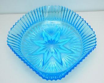 Blue Glass Fruit Bowl