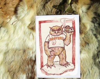 Owlbear. Geeky Greeting Card A5. Artprint by Sophie Grunnet