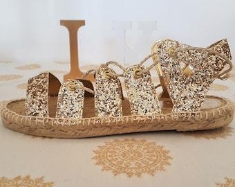 Wedding sandals, Greek sandals, Glitter shoes, espadrilles, barefoot sandals, Gladiator sandals, Gold glitter, Gift for her, Boho shoes