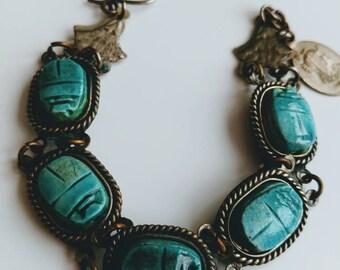 Vintage Egyptian scarab souvenir bracelet