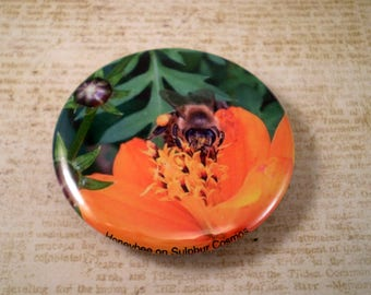 Large Bee Keeper Magnet, Pin or Pocket Mirror, 2.25'' Inch, Floral Magnet, Bee Club, Bee Lover Gift, Honey Bees, Save the Bees, G