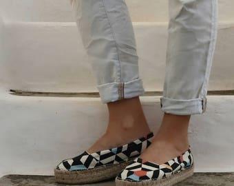 Geo Print Espadrilles Shoes.Summer Flat Shoes. Handmade Greek Sandals. Boho Women's Shoes. Gift for Women. Alpargata