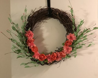 Pink Spring Grapevine Wreath
