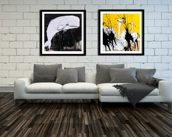 Set of 2 Prints, Black and White Print, Black and White Art, Gallery Wall Art, Gallery Wall Print, Gallery Wall set, #524OS #508WH