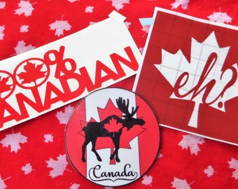 CANADA MAGNET & Sticker Pack - 100% Canadian! Canada Decal, Canada Stickers; Car Decal; Canada Magnet, Canadian Sticker, Canuck Magnet