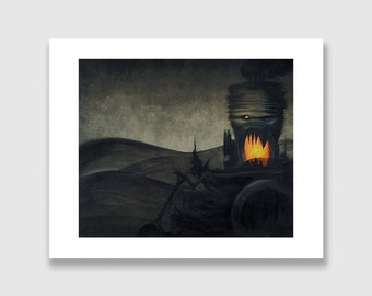 A Ghoul and His Hotrod. Dark Fantasy Art Print. Fire and Black Smoke.