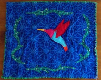 "Applique Mini Quilt, ""Hummingbird"""