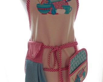 Denim Apron and Potholders and Towel Set  Applique Embroidered Kitchen Design