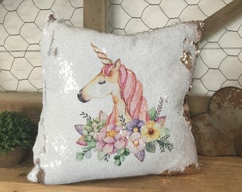 Floral Unicorn Pillow - Gift for Girl - Mermaid Pillow - Hidden Message Pillow - Reversible Sequin Pillow - Unicorn Lovers