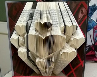 Book folding art pattern for a page of hearts