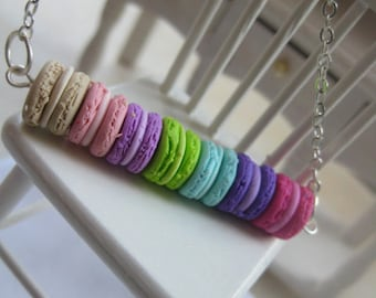 Rainbow Macarons Sequence _ Long Sterling Silver Necklace _ 1/12 Dollhouse Scale Miniature Food _ Polymer Clay