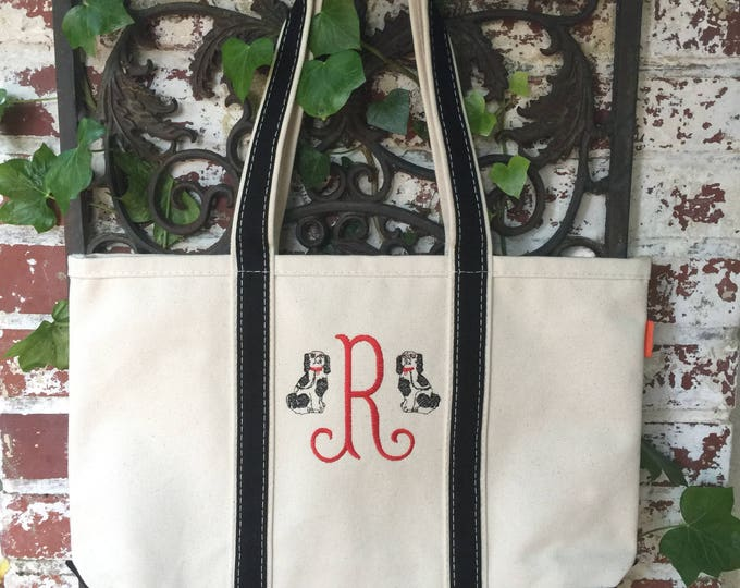 Featured listing image: Monogrammed Boat Tote Bag - Medium Sized Monogrammed Boat Tote - Monogram Tote Bag - Monogrammed Tote Bag - Book Club Bag - Teachers gift