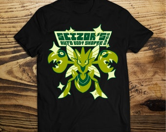 Shiny Scizors Pokemon T-Shirt -  shiny auto body shoppe Pokemon - Pokemon Shirt - Pokemon Shiny Scizors - Shiny Pokemon T-Shirt