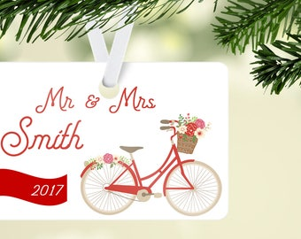 Mr and Mrs Christmas Ornament, Family Year Ornament, Bicycle Ornament