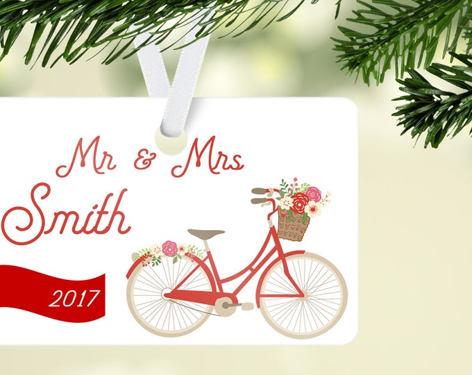 Featured listing image: Mr and Mrs Christmas Ornament, Family Year Ornament, Bicycle Ornament