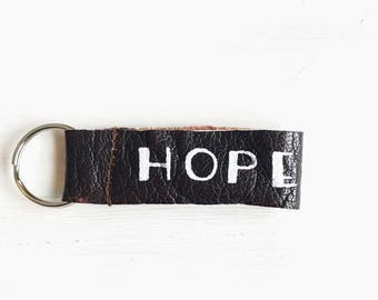 Hand-Painted Leather Keychain, Purse Keychain, Leather Key Fob, Quote Keychain, Keyholder, Leather Gift, Leather Accessory, Keychain for Her