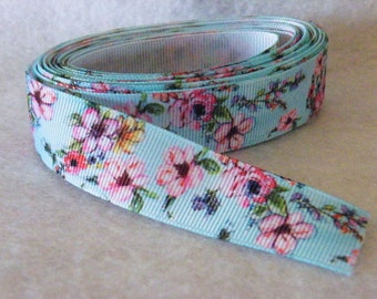 7/8 inch wide Muti Color Flowers on Light Blue One Sided Grosgrain Ribbon Floral, Bow Making, Hair Accessories Sold by 1/2 Yard (18 inches)