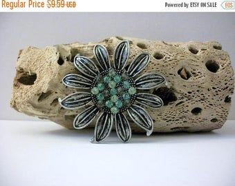 ON SALE Vintage Very Distressed Antiqued Silver Tone Black Sunflower Large Green Glass Stones Metal Pin 102716