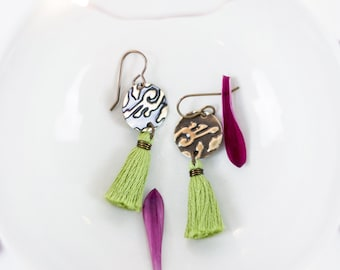 HANA | Green Tassel Earrings, Bohemian Earrings, Handmade, Spring Earrings, Boho Wedding, Dangle Earrings, Earthy Brass Earrings, Fiber
