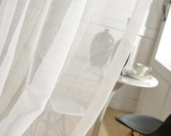 "Two White Textured Sheer Curtains Custom Made to Order Up To 104""L. Striped Pattern."