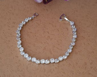 Cubic zirconia bracelet, bridal bracelet, wedding bracelet, wedding jewelry.
