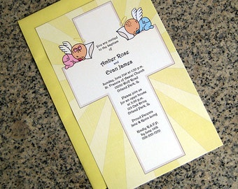 sleeping boy and/or girl angel(s) for 1 baby or twins fully custom including skin tone baptism christening invitations envelopes - set of 10