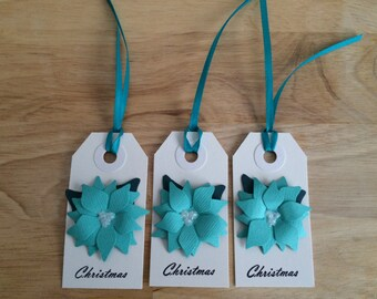 Set of 3 Poinsettia gift tags