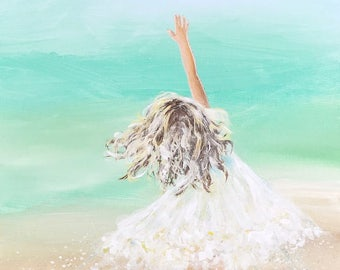 Little girl painting, young girl in white dress on beach, splatter paint art, giclee print of original painting by Luann Walsh