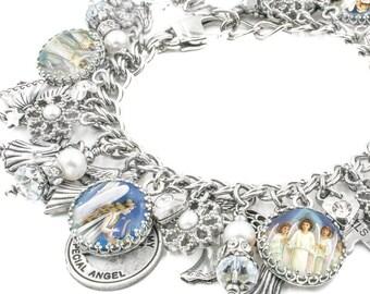 Angel Charm Bracelet, Angel Jewelry, Christian Gift, Guardian Angel Bracelet with fresh water pearls