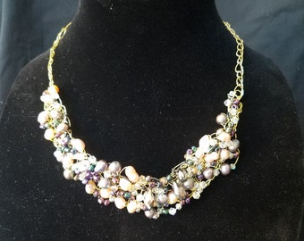 Pink and black pearl necklace