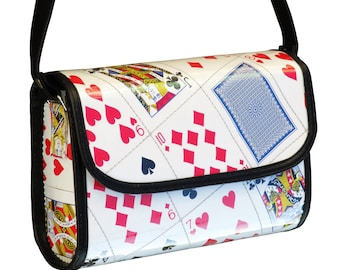 Medium cross body playing cards bag , FREE SHIPPING, Upcycled bag, cross body purse, Recycled hipster bag, shoulder bag, sling bag