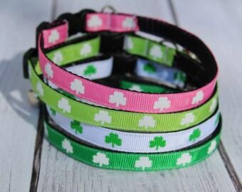 St. Patrick Day Cat Collars - Shamrock Cat collar - XS St. Patrick's Day Dog Collar - Irish Cat Collar - Kitten collar - Clover Collar