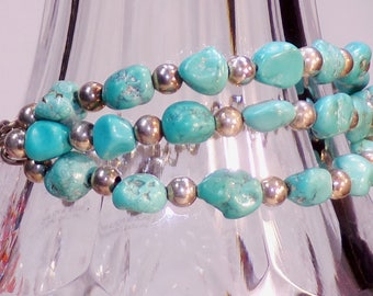 Turquoise Beaded Bracelet, Turquoise and Silver Bracelet, Sterling Silver Bracelet, Turquoise Cuff Bracelet, Sterling Silver Bead Bracelet