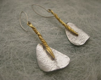 Handmade sterling silver earrings, rhodium and gold plated